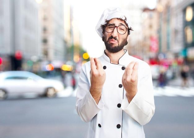 Gek chef droevige uitdrukking