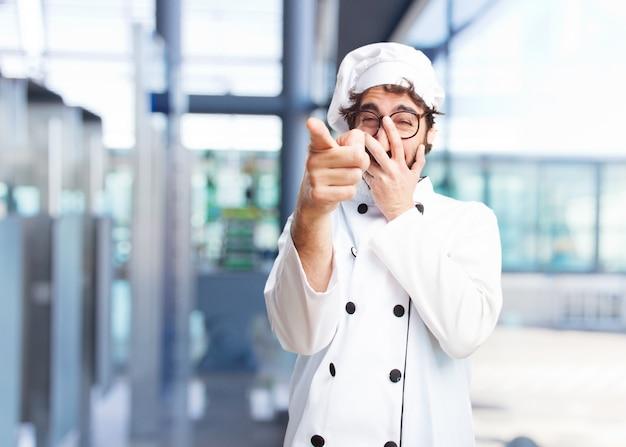 Gek chef gelukkige uitdrukking
