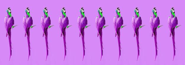 Gek pop-art kleurrijk ultraviolet behang met ara-papegaaien