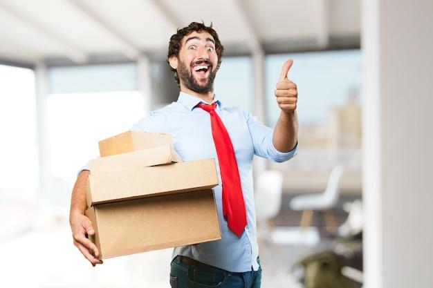 Gek zakenman gelukkige uitdrukking