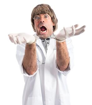 Gekke dokter met handboeien