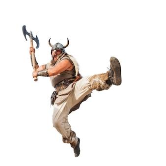 Gekke sterke viking geïsoleerd op een witte achtergrond