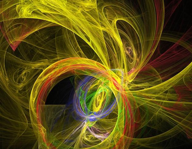 Gekleurde abstracte ronde krommen en lijnen op zwarte achtergrond