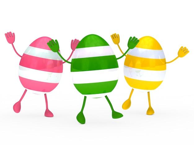 Gekleurde eieren met handen en voeten