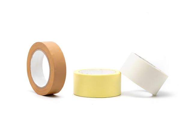 Gekleurde kleefband, tape-isolaten, lijmen, accessoires voor thuisreparatie en bij reparatietool voor werk.