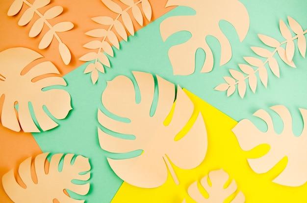 Gekleurde monsterabladeren op gemengde achtergrond