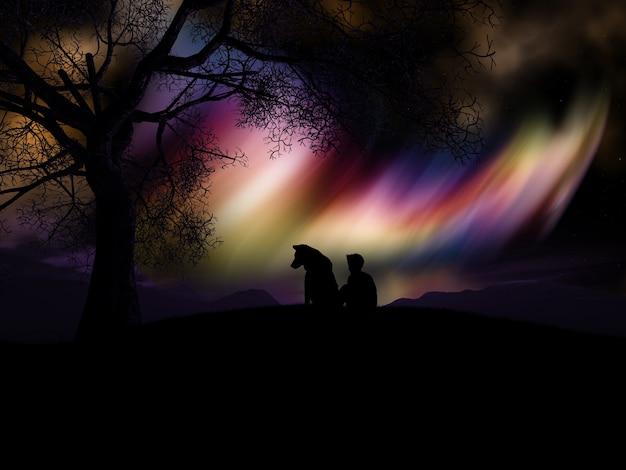 Gekleurde nevel landschap
