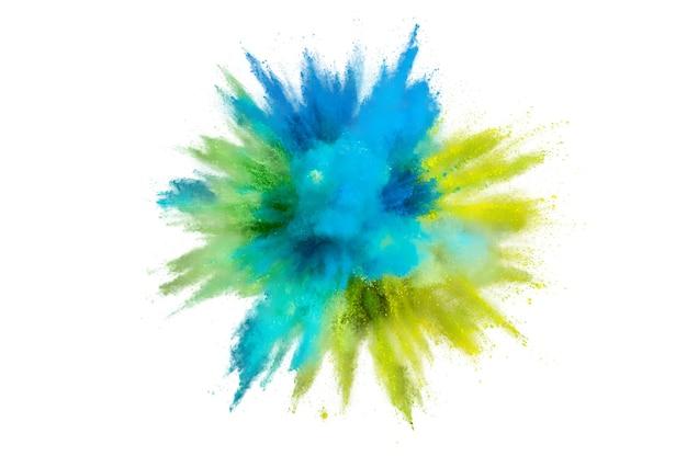Gekleurde poederexplosie op witte achtergrond. abstract close-upstof op achtergrond. kleurrijk exploderen. verf holi