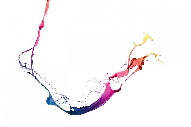 Gekleurde verf spatten geïsoleerd op een witte achtergrond