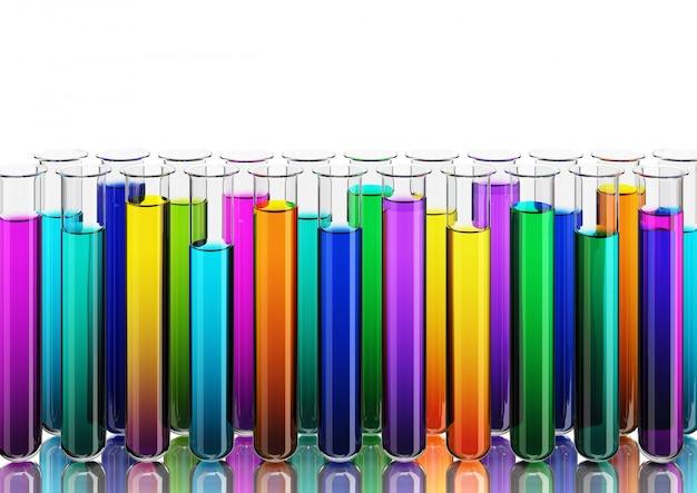 Gekleurde vloeistoffen in reageerbuizen, 3d