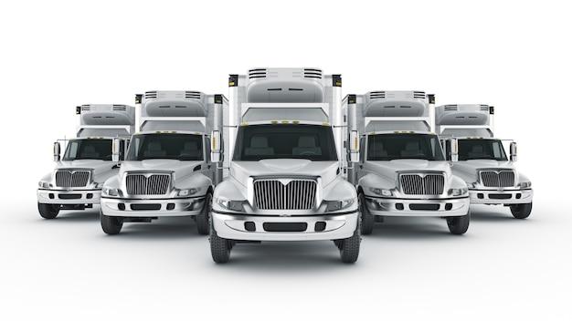 Gekoelde vrachtwagen geïsoleerde 3d-rendering