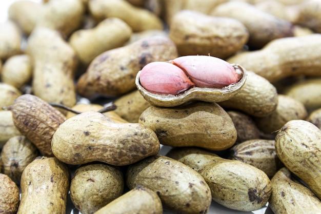 Gekookte pinda's het ovale zaad van een zuid-amerikaanse plant, veel geroosterd en gezouten en gegeten als snack.