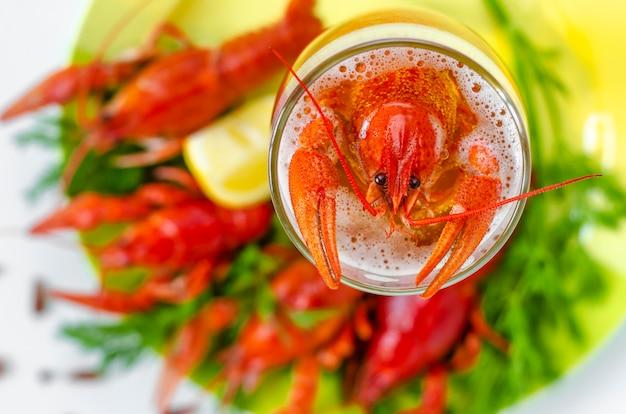 Gekookte rivierkreeft of langoesten in het glas vol bier. ideale snacks voor het mannelijk feest. ruimte kopiëren. mannelijk voedselconcept