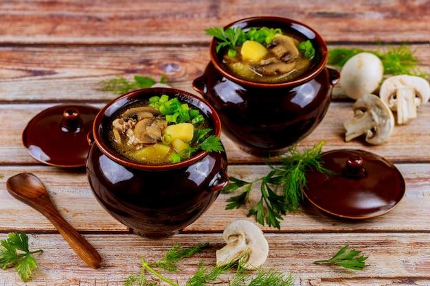 Gekookte witte champignons met aardappel en vlees in stoofpotten