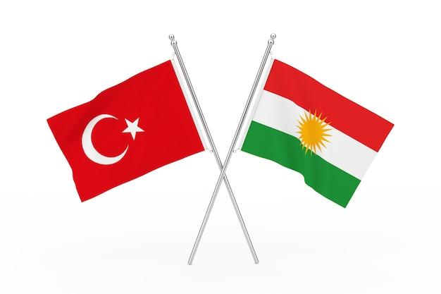 Gekruiste vlaggen van turkije en koerdistan op een witte achtergrond. 3d-rendering
