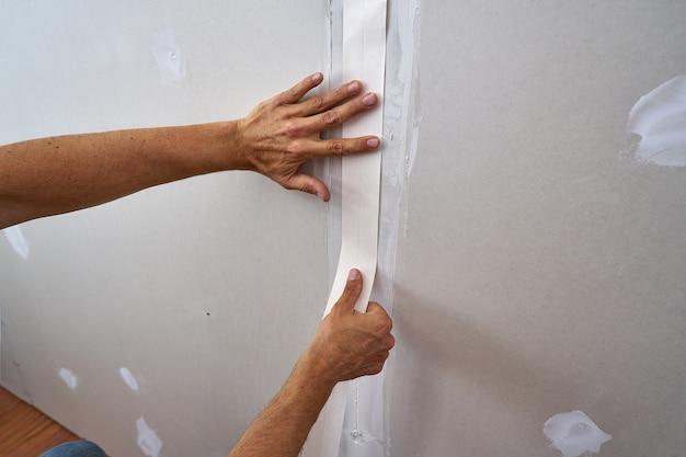 Gelamineerde gipsplaten pleister verbinding tape