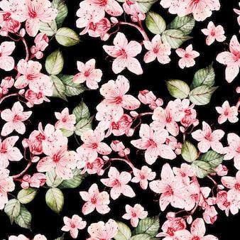 Gelast patroon met japanse sakura met roze bloemen en groene bladeren