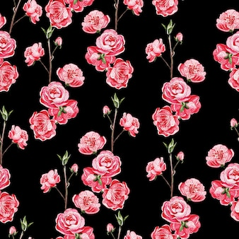 Gelast patroon met japanse sakura met roze bloemen