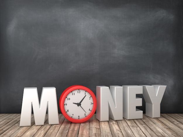 Geld 3d word met klok op schoolbord