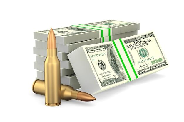 Geld en kogels op witte achtergrond. geïsoleerde 3d illustratie