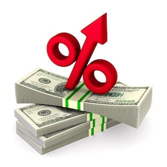 Geld en procent op witte ruimte
