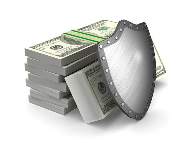 Geld en schild op wit