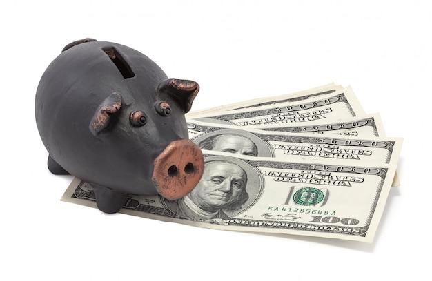 Geld en zwarte spaarpot