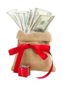 Geld in geschenkzak met rode strik geïsoleerd