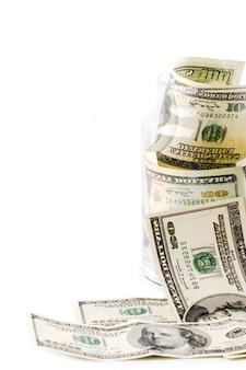 Geld in glazen pot