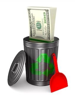 Geld in vuilnismand op witte ruimte