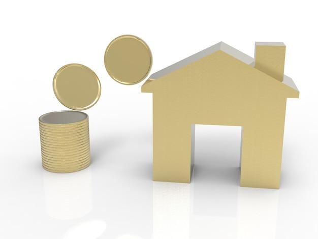 Geld inzamelen concept met gouden huis en gouden munten