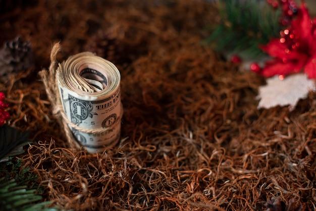 Geld kerstmis gift dollar vakantie achtergrond