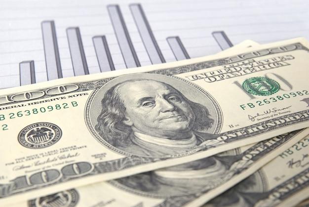 Geld met grafiek kan voor financieel concept worden gebruikt