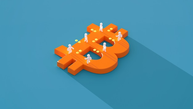Geld of bitcoin - 3d illustratie