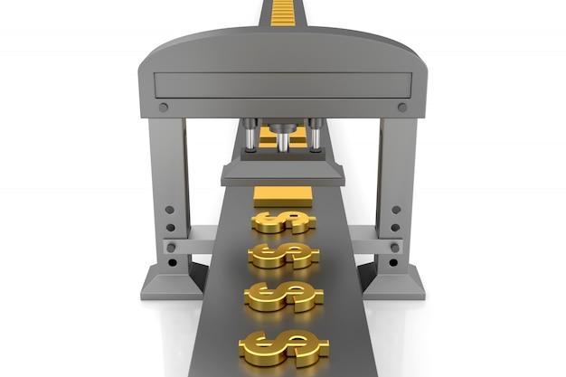 Geld verdienen machine. 3d-weergave