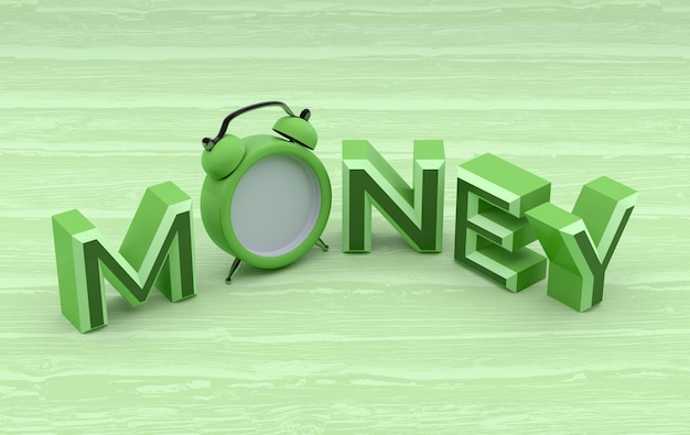 Geld woord met klok op houten achtergrond. 3d-rendering