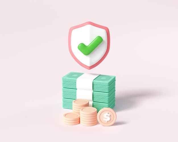 Geldbesparend concept. muntenstapel en bundels geld op roze achtergrond. 3d render illustratie