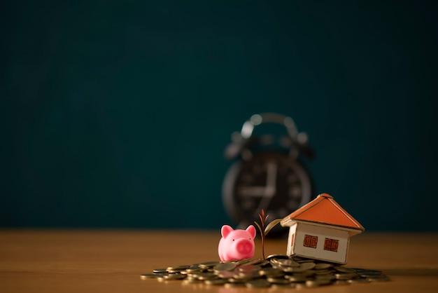 Geldbesparende ideeën voor huizen, financiële en financiële ideeën, geld besparen bij de voorbereiding op de toekomst, opgroeien van munten