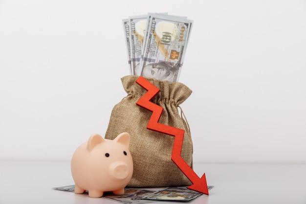 Geldzak spaarvarken en rode pijl naar beneden stagnatie recessie afnemende bedrijfsactiviteit dalende rijkdom