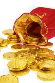 Geldzakken met munten