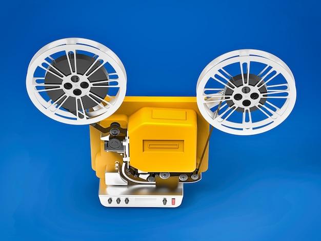 Gele 3d bioscoopfilmprojector geïsoleerd op blauw oppervlak
