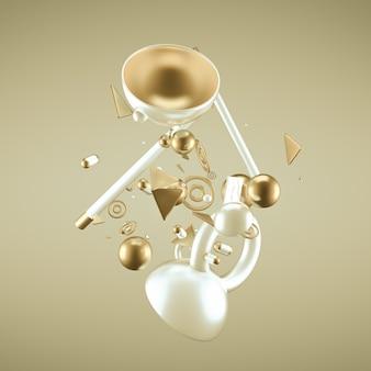 Gele abstracte minimalisme achtergrond met vliegende objecten en vormen. 3d-weergave.