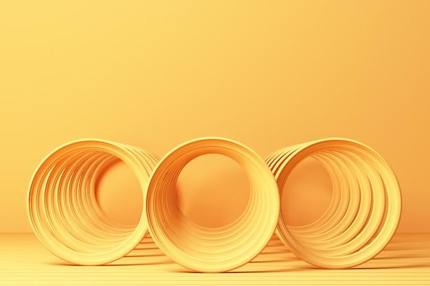 Gele abstracte spiraalvorm bij het gele 3d teruggeven