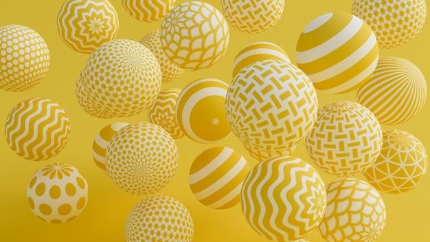 Gele achtergrond met ballen. 3d-afbeelding, 3d-rendering.