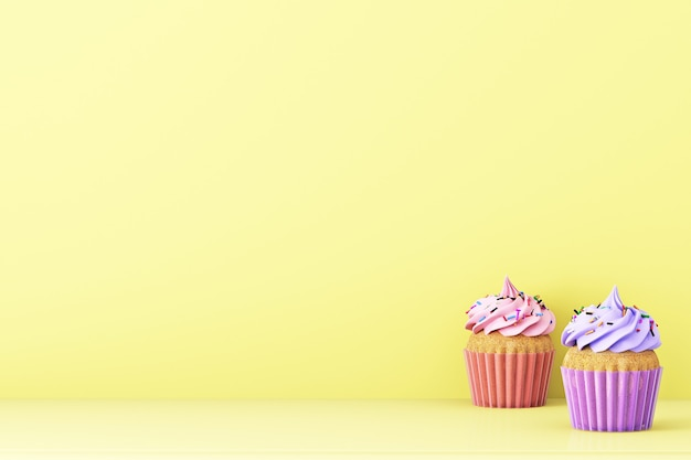 Gele achtergrond met cupcakes