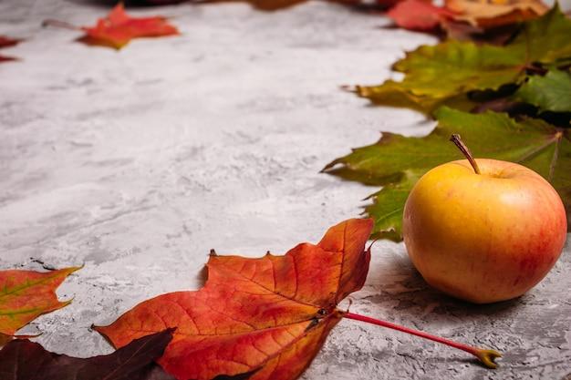 Gele appel en rood esdoornblad op beton
