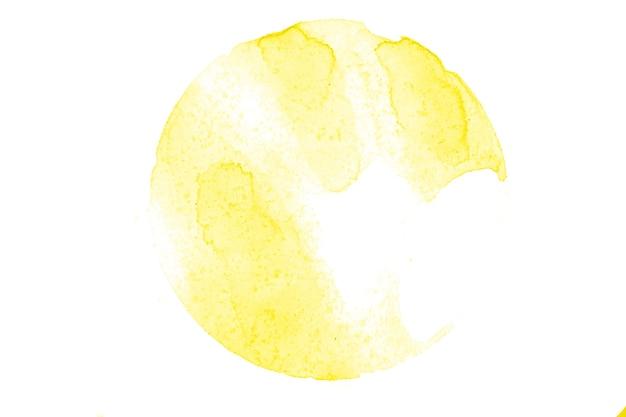 Gele aquarel cirkel geïsoleerd op een witte achtergrond