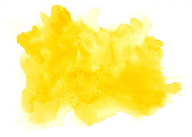 Gele aquarel vlek tinten penseelstreek achtergrond