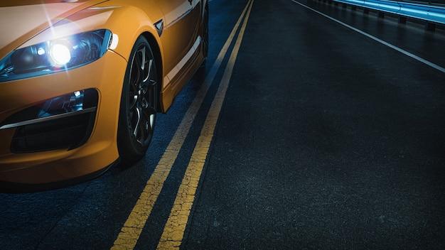 Gele auto op de weg 's nachts. 3d render en illustratie.