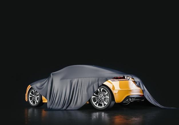 Gele auto's die bedekt zijn met textiel